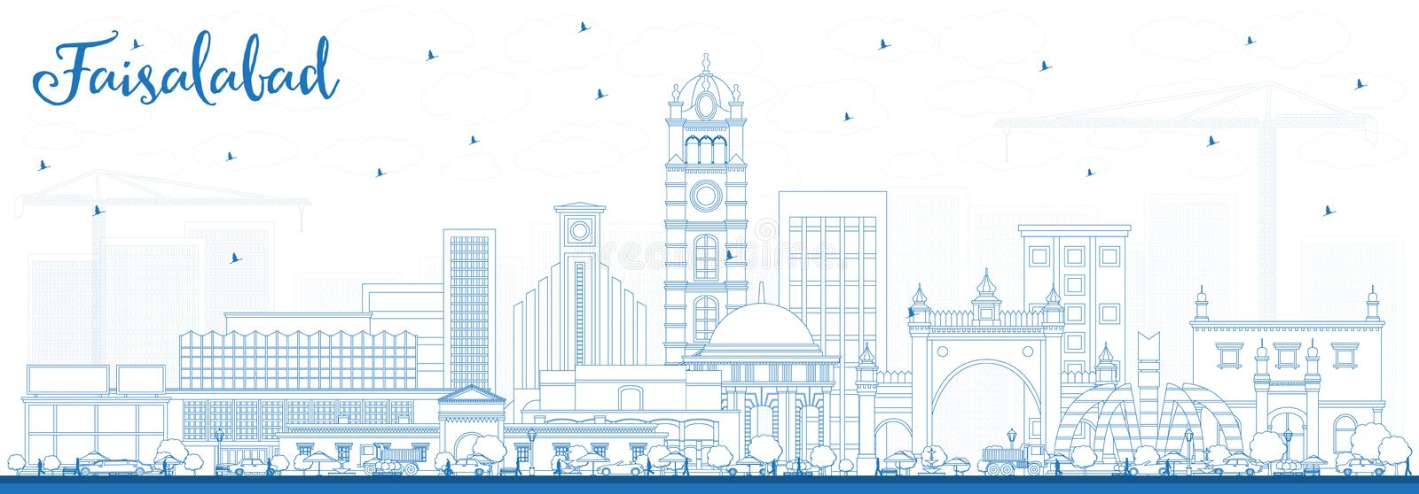 Outline Faisalabad Pakistan City Skyline with Blue Buildings. Vector Illustration. Business Travel and Tourism Concept with Modern Architecture. Faisalabad stock illustration