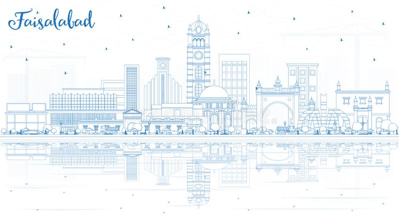 Outline Faisalabad Pakistan City Skyline with Blue Buildings and. Reflections. Vector Illustration. Business Travel and Tourism Concept with Modern Architecture stock illustration