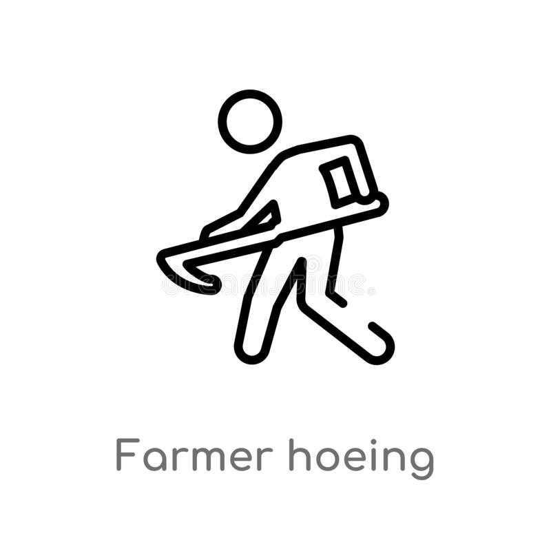outline farmer hoeing vector icon. isolated black simple line element illustration from farming concept. editable vector stroke royalty free illustration