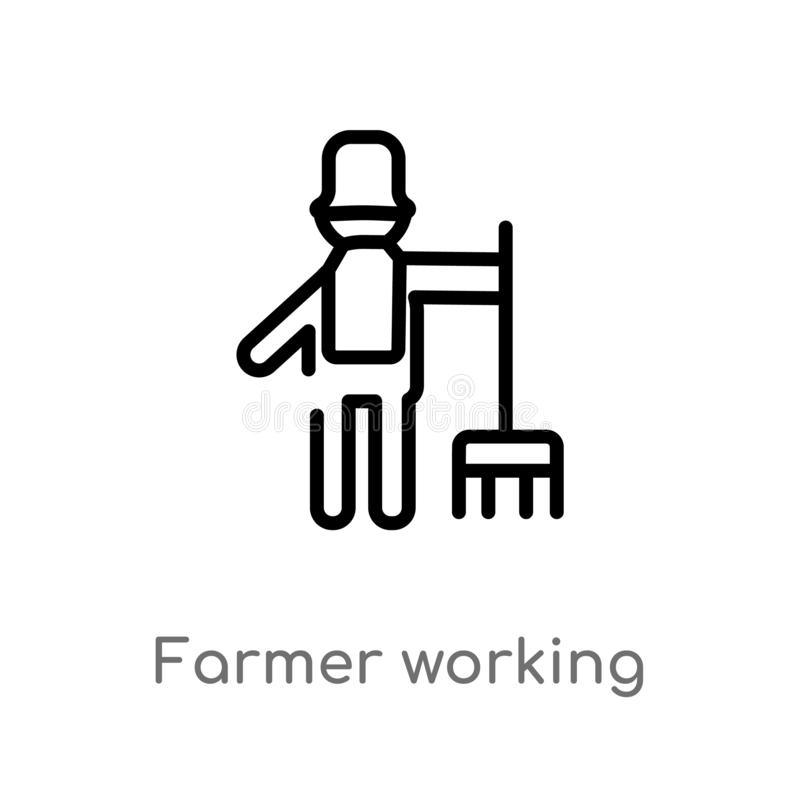 outline farmer working vector icon. isolated black simple line element illustration from people concept. editable vector stroke vector illustration