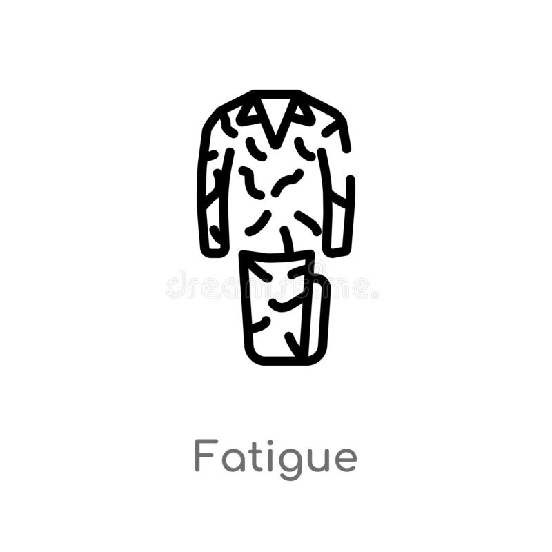 Outline fatigue vector icon. isolated black simple line element illustration from desert concept. editable vector stroke fatigue. Icon on white background stock illustration