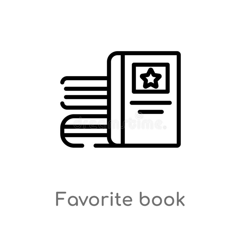 Outline favorite book vector icon. isolated black simple line element illustration from education concept. editable vector stroke. Favorite book icon on white royalty free illustration