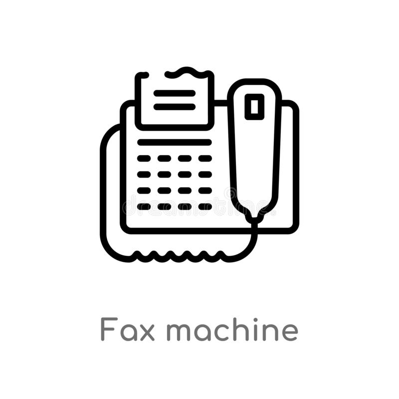 Outline fax machine vector icon. isolated black simple line element illustration from electronic devices concept. editable vector. Stroke fax machine icon on stock illustration