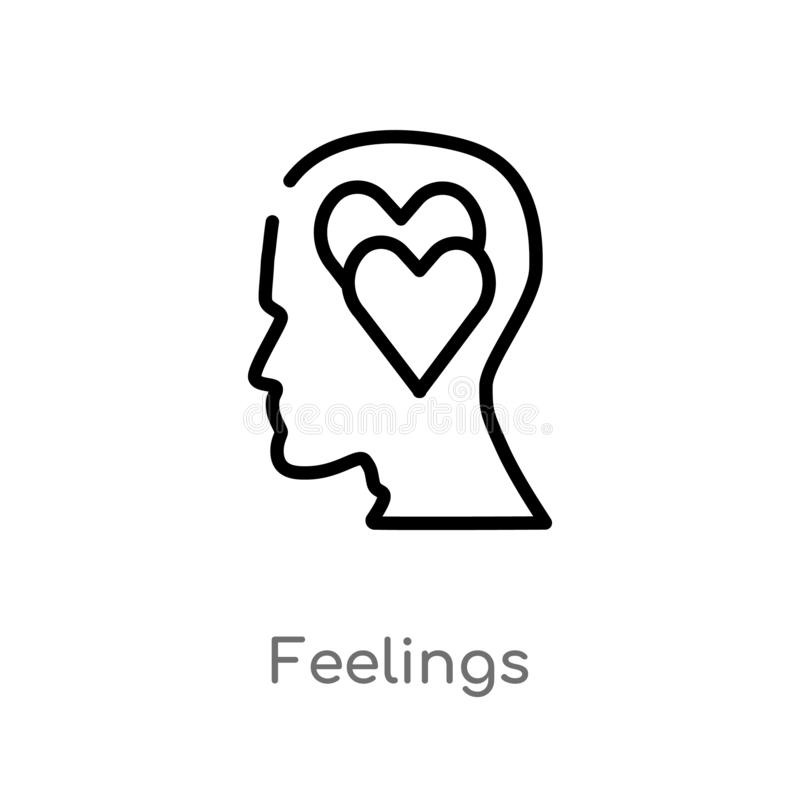 Outline feelings vector icon. isolated black simple line element illustration from brain process concept. editable vector stroke. Feelings icon on white vector illustration