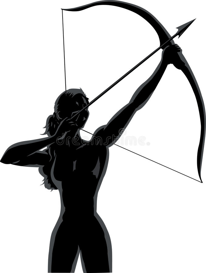 Outline female Archer vector illustration