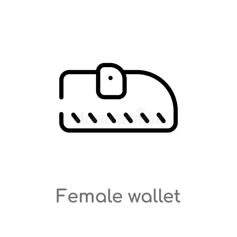 outline female wallet vector icon. isolated black simple line element illustration from woman clothing concept. editable vector royalty free illustration