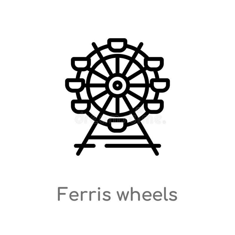 outline ferris wheels vector icon. isolated black simple line element illustration from business concept. editable vector stroke stock illustration