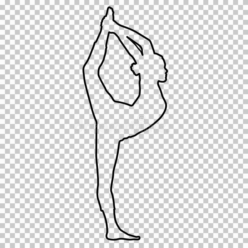 Outline figure woman doing stretching legs, split on transparent background, silhouette girl engaged in gymnastics, yoga royalty free illustration