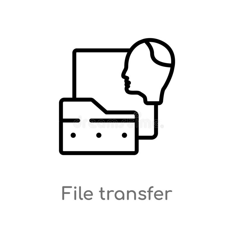 outline file transfer vector icon. isolated black simple line element illustration from artificial intelligence concept. editable vector illustration