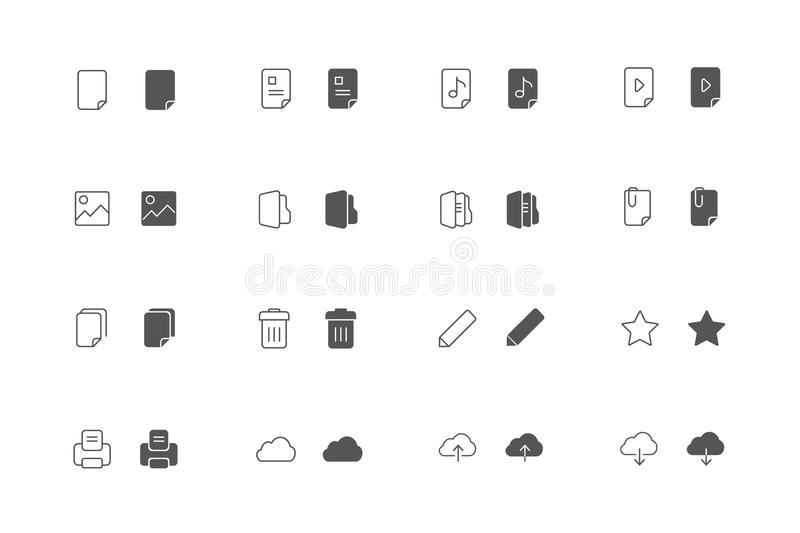 Outline and filled File icon set royalty free stock photography