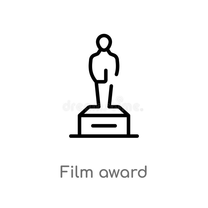 outline film award vector icon. isolated black simple line element illustration from cinema concept. editable vector stroke film vector illustration