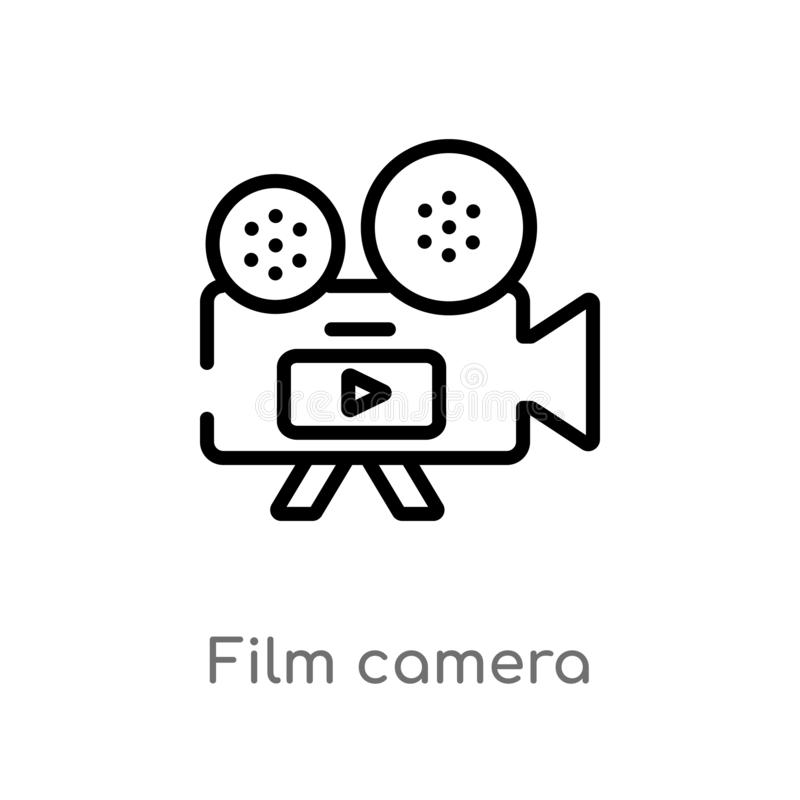 outline film camera vector icon. isolated black simple line element illustration from electronic stuff fill concept. editable stock illustration
