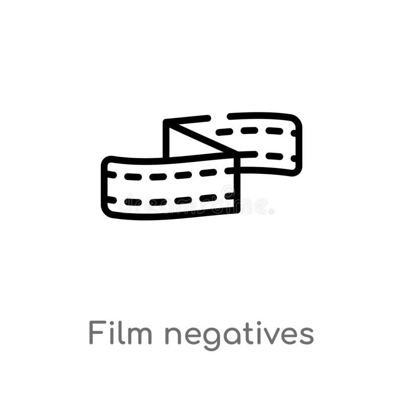outline film negatives vector icon. isolated black simple line element illustration from cinema concept. editable vector stroke vector illustration