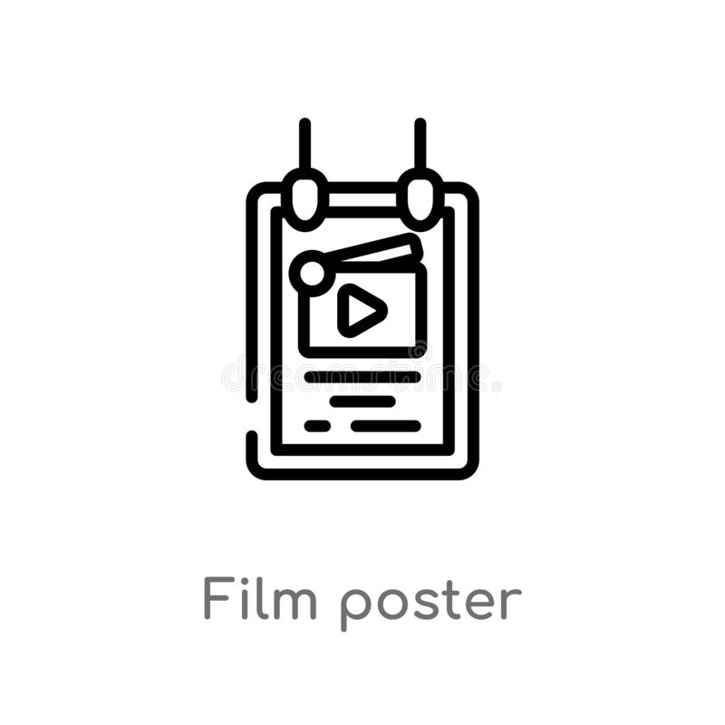 outline film poster vector icon. isolated black simple line element illustration from cinema concept. editable vector stroke film stock illustration