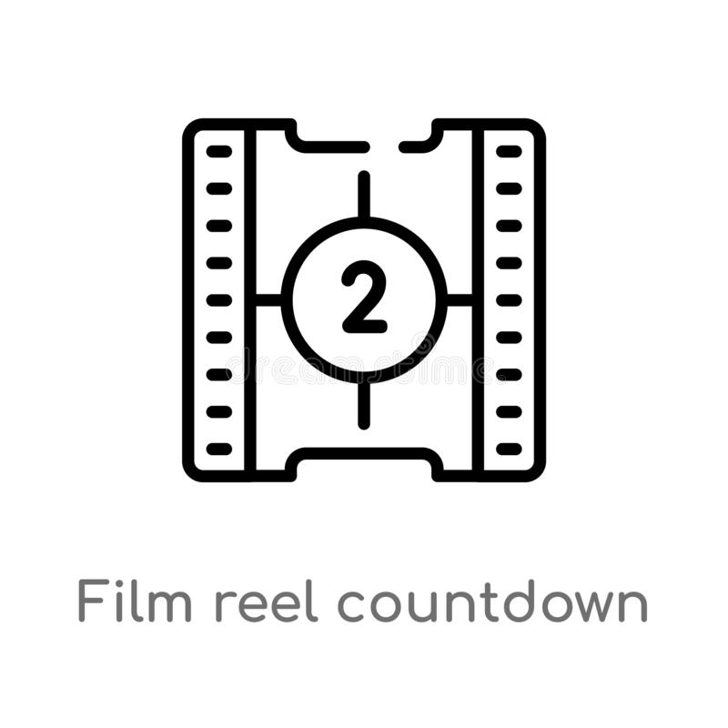 outline film reel countdown number 2 vector icon. isolated black simple line element illustration from cinema concept. editable stock illustration