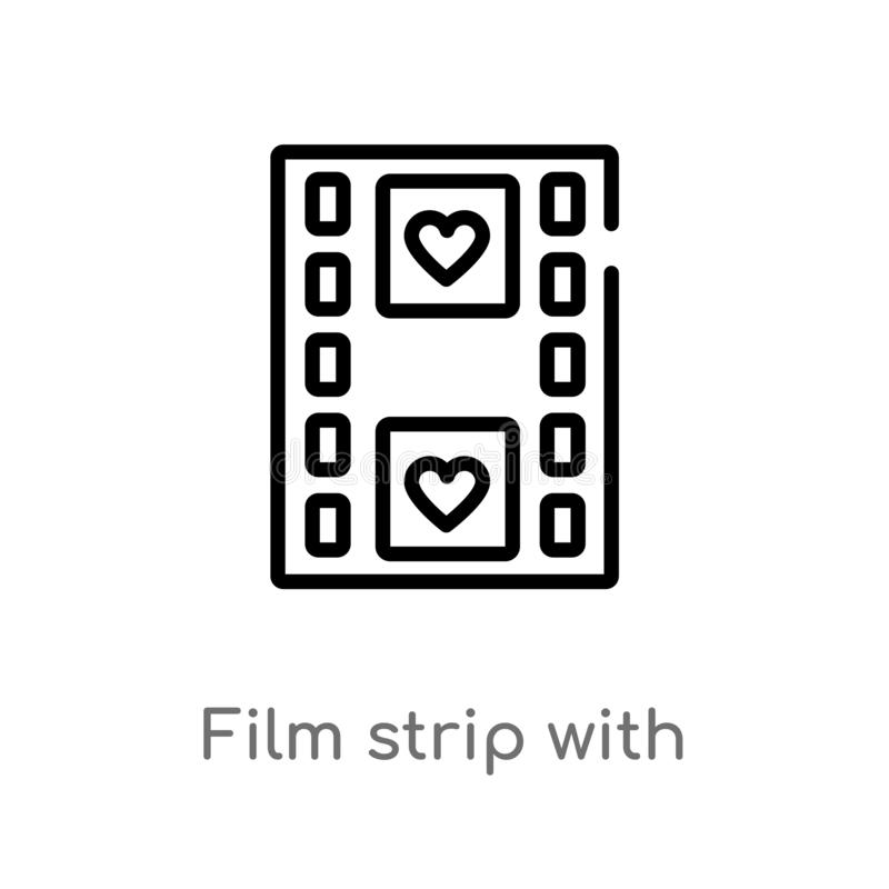 outline film strip with heart vector icon. isolated black simple line element illustration from shapes concept. editable vector royalty free illustration