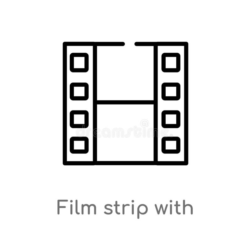 outline film strip with a triangle inside vector icon. isolated black simple line element illustration from user interface concept stock illustration