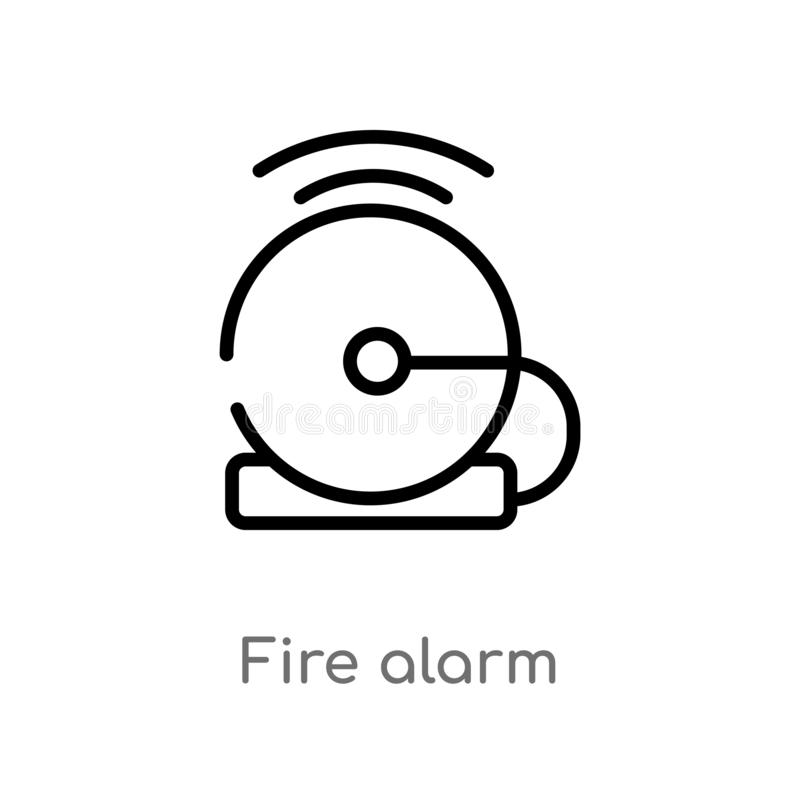 outline fire alarm vector icon. isolated black simple line element illustration from smart house concept. editable vector stroke royalty free illustration