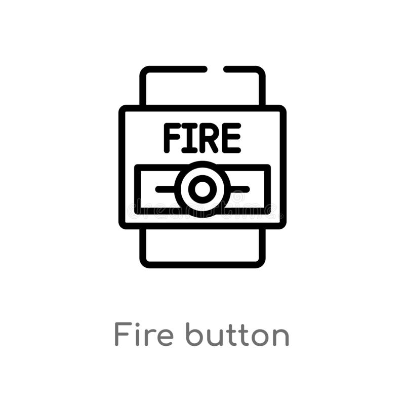 outline fire button vector icon. isolated black simple line element illustration from alert concept. editable vector stroke fire royalty free illustration