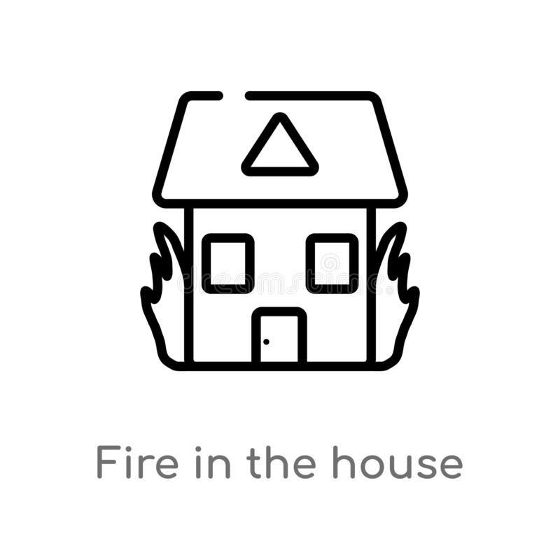 outline fire in the house vector icon. isolated black simple line element illustration from buildings concept. editable vector royalty free illustration
