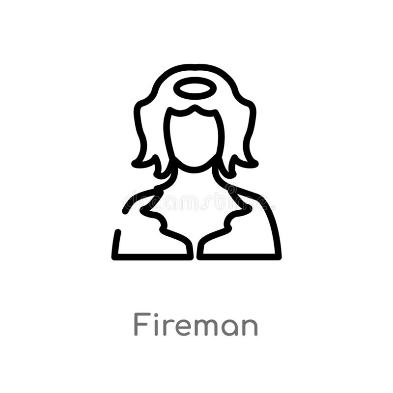 outline fireman vector icon. isolated black simple line element illustration from job profits concept. editable vector stroke royalty free illustration
