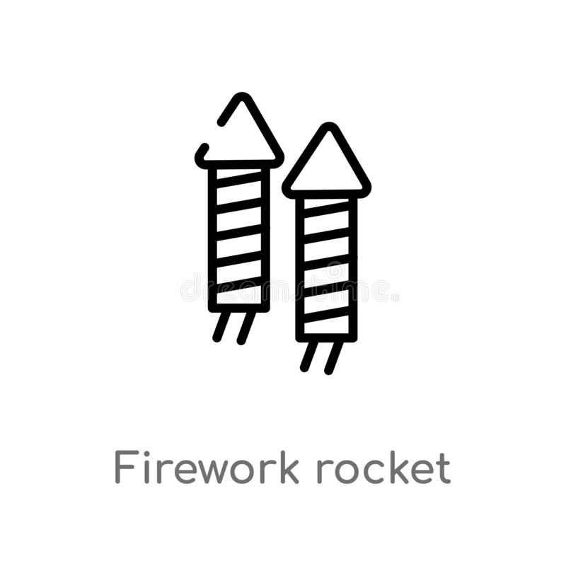 Outline firework rocket vector icon. isolated black simple line element illustration from party concept. editable vector stroke. Firework rocket icon on white royalty free illustration