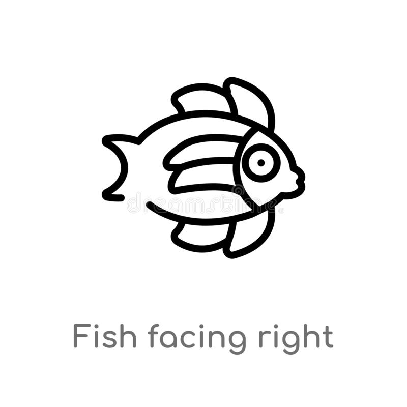 outline fish facing right vector icon. isolated black simple line element illustration from nautical concept. editable vector stock illustration