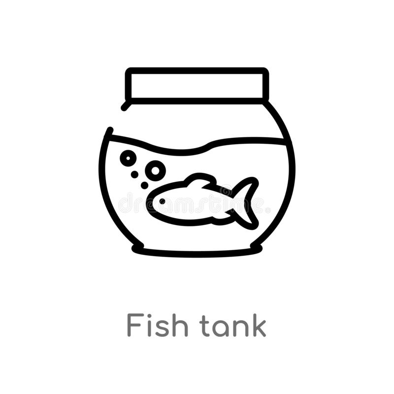 outline fish tank vector icon. isolated black simple line element illustration from free time concept. editable vector stroke fish royalty free illustration