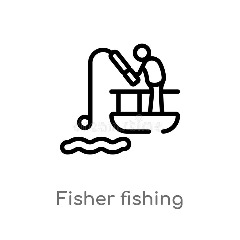 outline fisher fishing vector icon. isolated black simple line element illustration from sports concept. editable vector stroke vector illustration