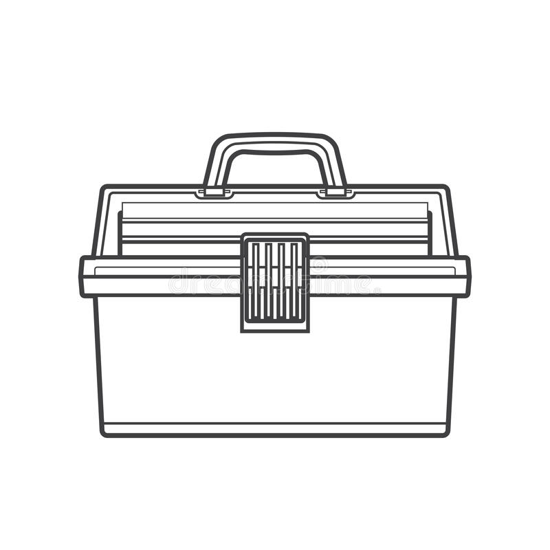 Outline fishing tackle box illustration royalty free illustration