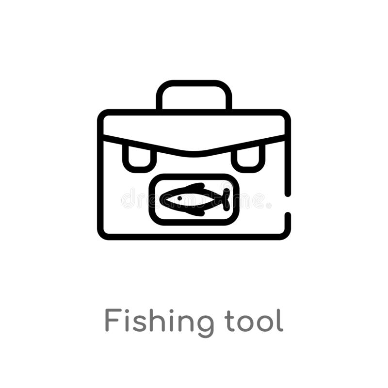 outline fishing tool vector icon. isolated black simple line element illustration from food concept. editable vector stroke royalty free illustration
