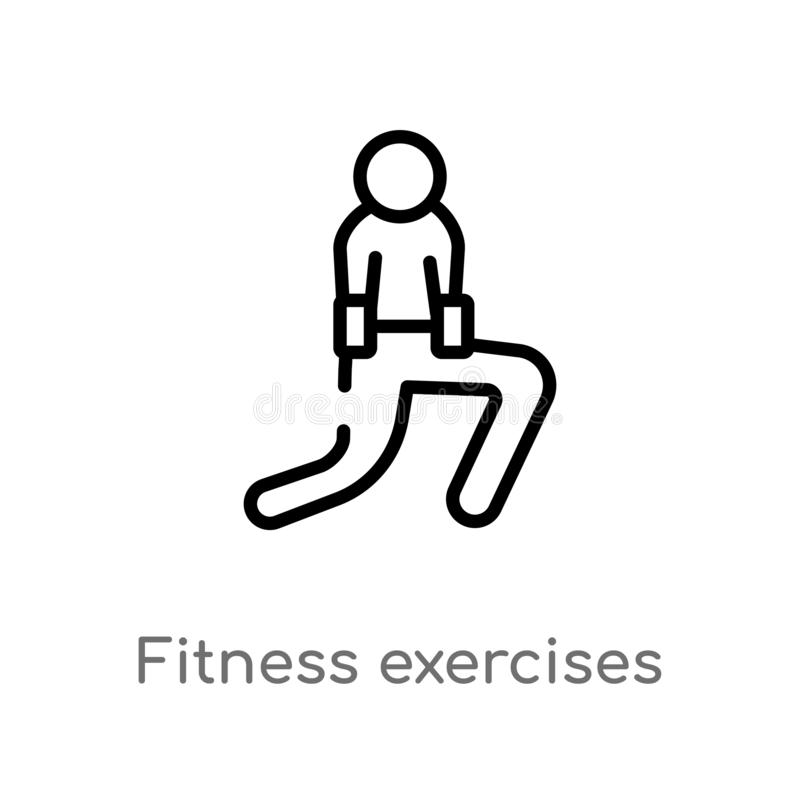 outline fitness exercises vector icon. isolated black simple line element illustration from humans concept. editable vector stroke stock illustration