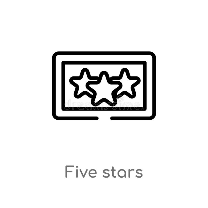 Outline five stars vector icon. isolated black simple line element illustration from accommodation concept. editable vector stroke. Five stars icon on white vector illustration