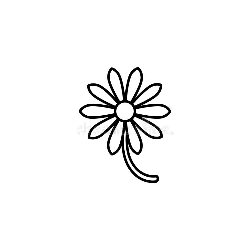 Outline flat icon of daisy flower with right side stem. Isolated on white. Vector illustration. Eco style. royalty free illustration