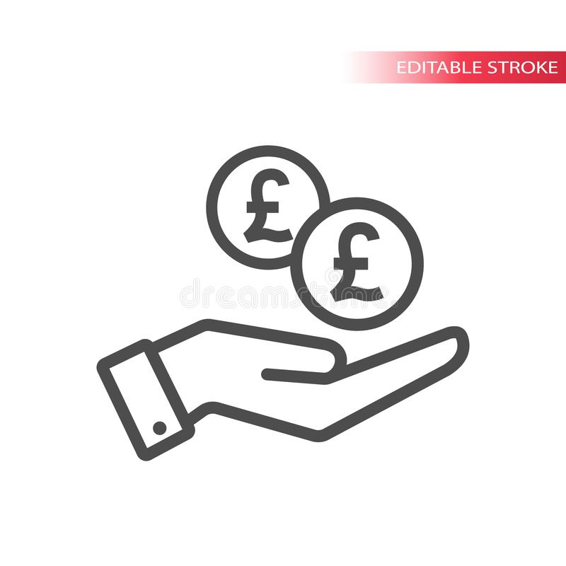 Outline flat icon of pound coins falling in hand. Hand and coins dropping web. Pounds coin and a palm. stock illustration