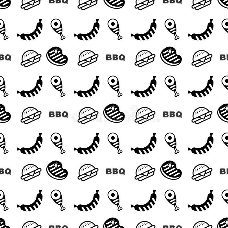 Outline flat vector seamless pattern BBQ. Flyer for outdoor party stock illustration