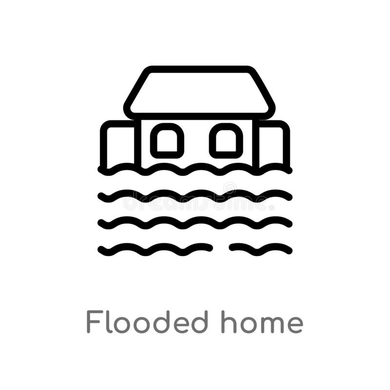 Outline flooded home vector icon. isolated black simple line element illustration from meteorology concept. editable vector stroke. Flooded home icon on white royalty free illustration