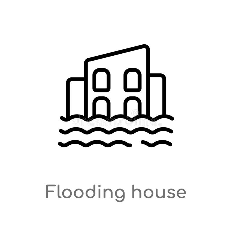 Outline flooding house vector icon. isolated black simple line element illustration from meteorology concept. editable vector. Stroke flooding house icon on stock illustration