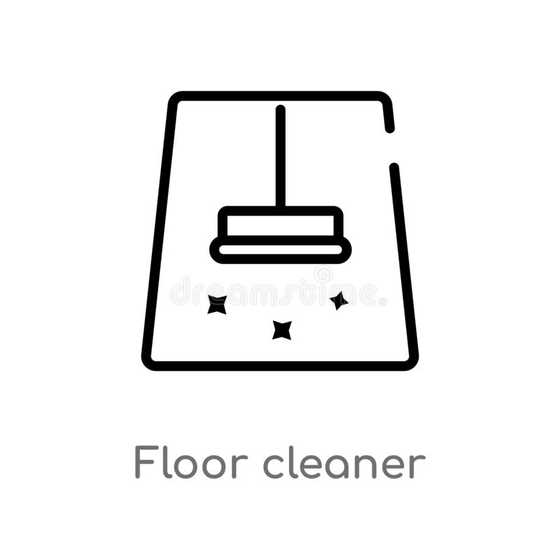 outline floor cleaner vector icon. isolated black simple line element illustration from cleaning concept. editable vector stroke stock illustration