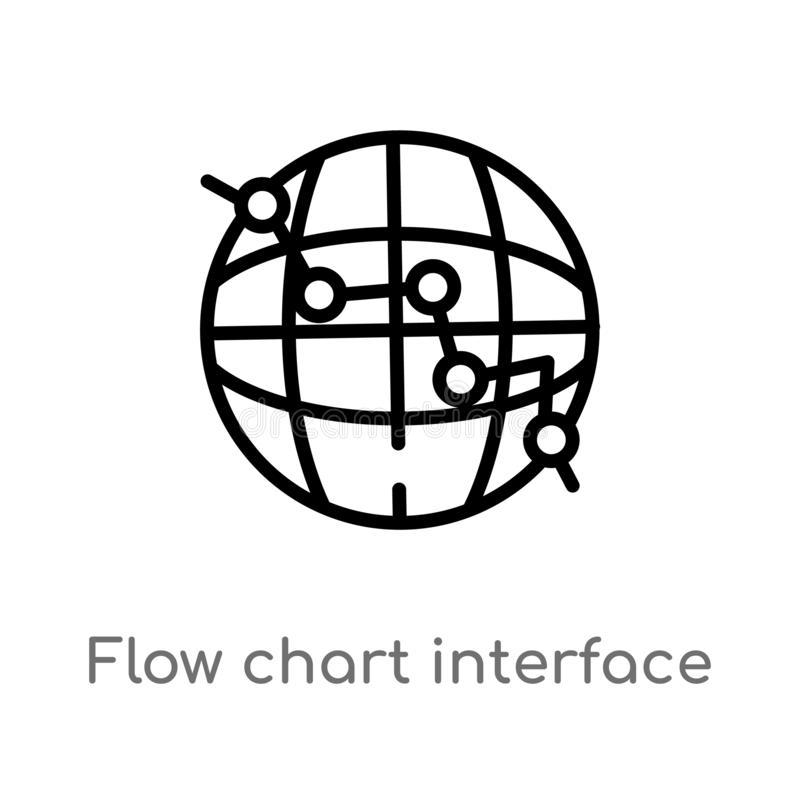 Outline flow chart interface vector icon. isolated black simple line element illustration from user interface concept. editable. Vector stroke flow chart royalty free illustration