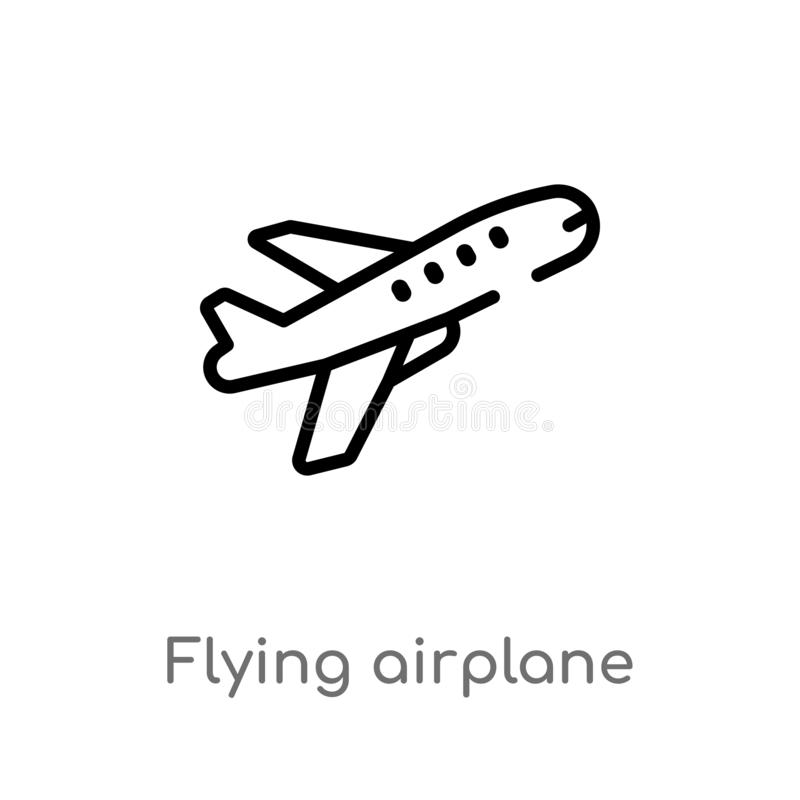 Outline Flying Airplane Vector Icon Isolated Black Simple Line