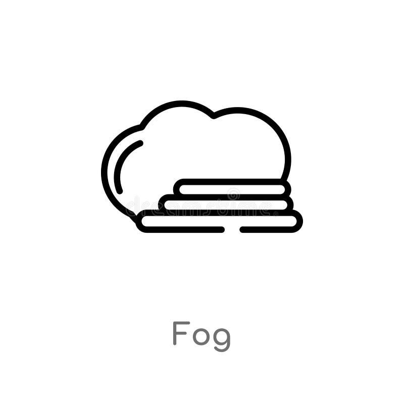 Outline fog vector icon. isolated black simple line element illustration from meteorology concept. editable vector stroke fog icon. On white background stock illustration