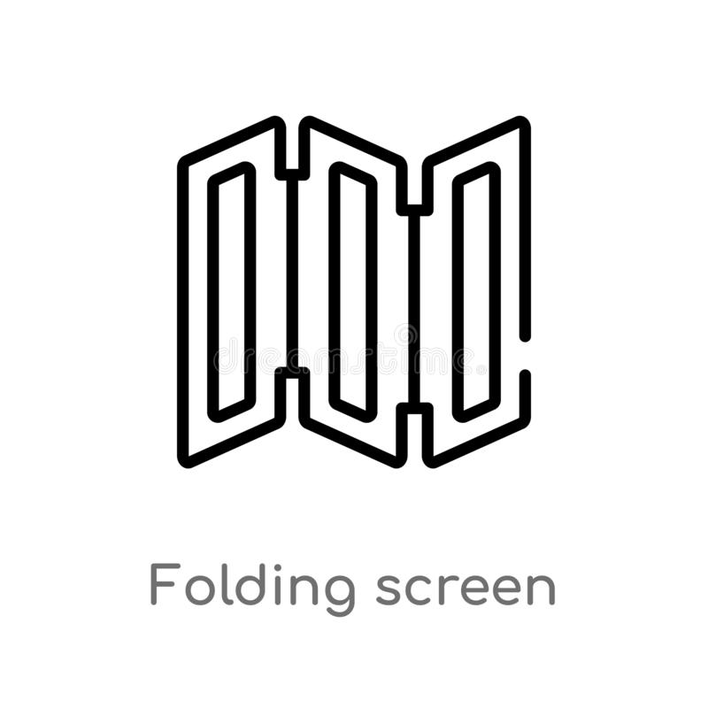 Outline folding screen vector icon. isolated black simple line element illustration from furniture and household concept. editable. Vector stroke folding screen royalty free illustration