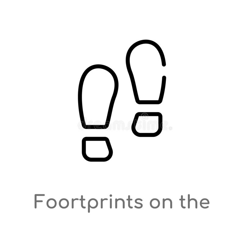 outline foortprints on the moon vector icon. isolated black simple line element illustration from astronomy concept. editable royalty free illustration