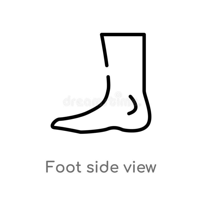 outline foot side view vector icon. isolated black simple line element illustration from human body parts concept. editable vector stock illustration
