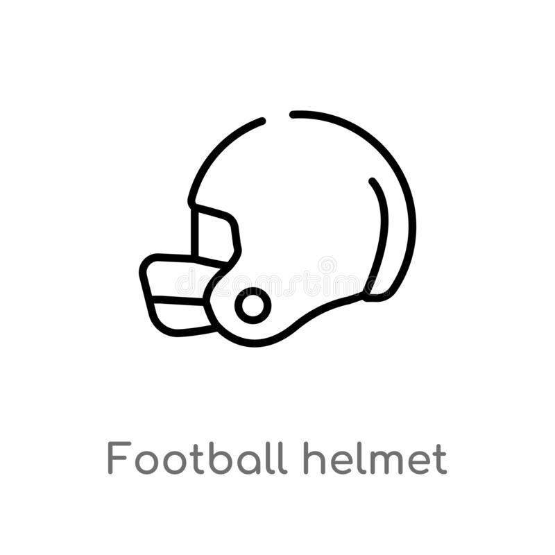 Outline football helmet vector icon. isolated black simple line element illustration from american football concept. editable. Vector stroke football helmet vector illustration