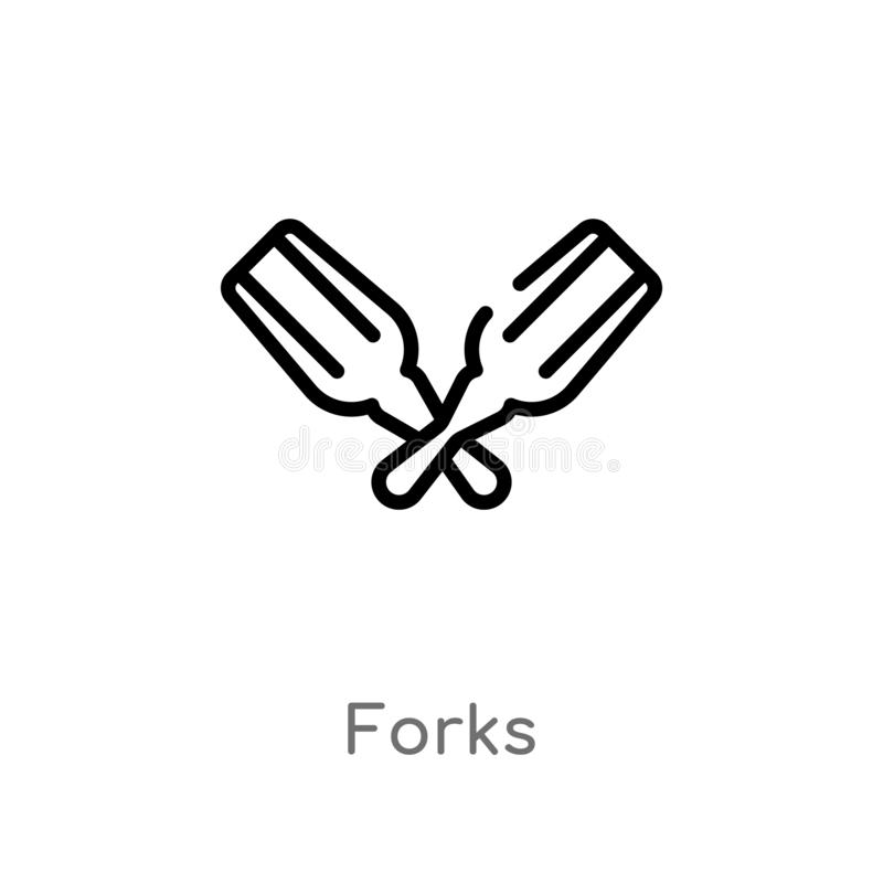 outline forks vector icon. isolated black simple line element illustration from alcohol concept. editable vector stroke forks icon stock illustration