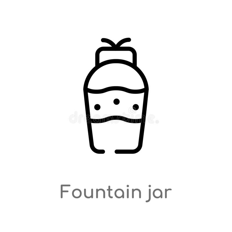 outline fountain jar vector icon. isolated black simple line element illustration from art concept. editable vector stroke stock illustration