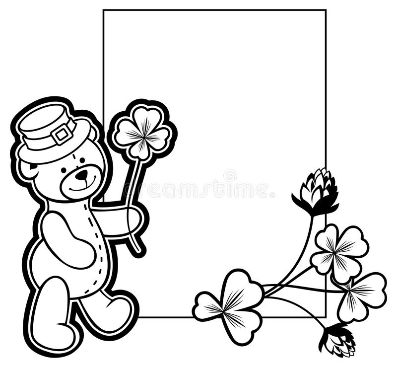 Outline frame with shamrock contour and teddy bear. Raster clip stock photos
