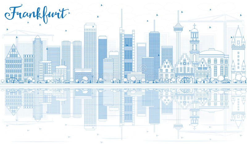Outline Frankfurt Skyline with Blue Buildings and Reflections. vector illustration